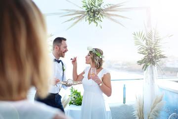 Wedding on the beach. A couple during a beach wedding ceremony.