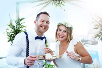 Beach wedding. A couple during a beach wedding ceremony.