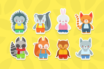 Fotomurales - Cute Baby Animals Stickers Collection, Hedgehog, Raccoon, Rabbit, Cat, Beaver, Squirrel, Owl, Wolf Characters Vector Illustration