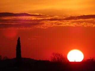 Foto auf AluDibond Rot kubanischen Scenic View Of Silhouette Landscape Against Orange Sky