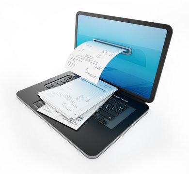 Fictitious payment receipt coming out of laptop screen. 3D illustration
