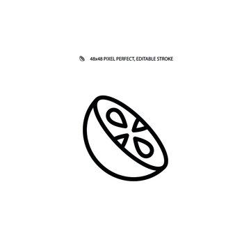 Monk fruit simple line icon vector illustration. Editable stroke. 48x48 Pixel Perfect.