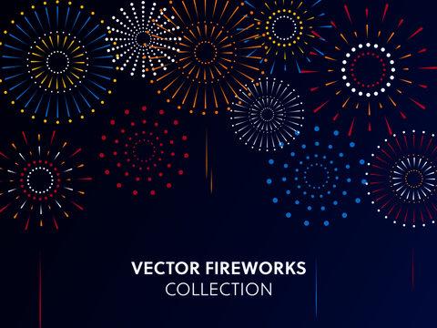 Vector illustration of a festive fireworks at night,scene for holiday and celebration background design.
