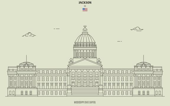 Mississippi State Capitol in Jackson, USA. Landmark icon
