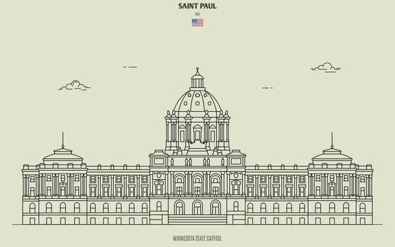 Minnesota State Capitol in Saint Paul, USA. Landmark icon