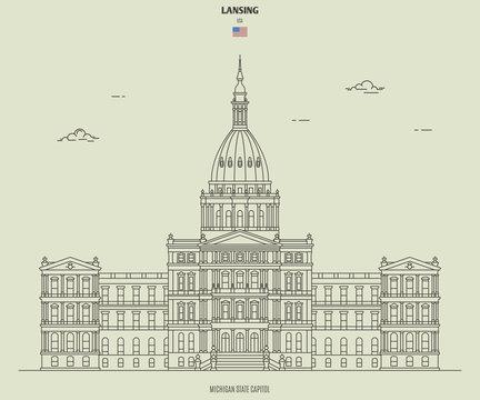 Michigan State Capitol in Lansing, USA. Landmark icon