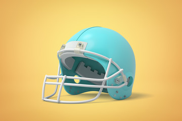 3d close-up rendering of light blue helmet for American football on sand-colored background.