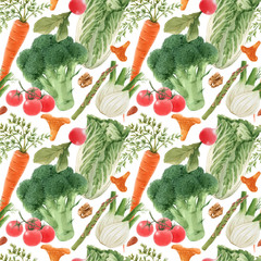 Beautiful seamless pattern with watercolor hand drawn vegetables. Stock illustration. Healthy food painting.