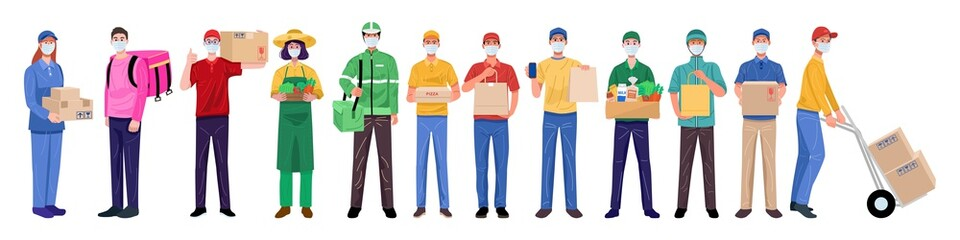 Flat design concept, Set of delivery man wearing face masks in various characters. Vector
