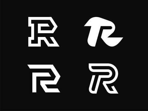 Set of 4 vector signs. Letter R in a linear style.