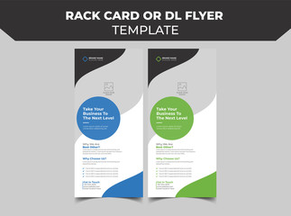 Rack card or Dl flyer template Vector. DL Corporate business template for flyer. Layout with modern elements and abstract background. Creative flyer concept vector roll up banner design.