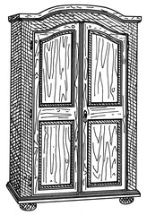 hand drawing of a farm cupboard with cross hatching in black and white