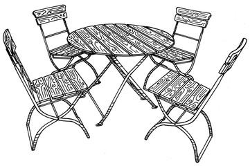 Hand drawn image of traditional bavarian beergarden table and chairs.