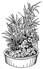black and white illustration of a flower bowl