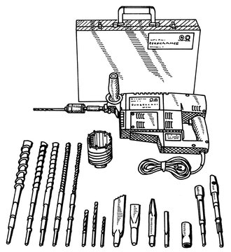 Illustration set of a Electric drill and drill set of different diameters for drilling holes