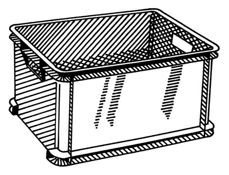 Illustration of a plastic storage box isolated on white in black and white