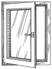 illustration of a window that is open