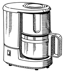 Illustration of a Coffee makers electrical machine for home or office.