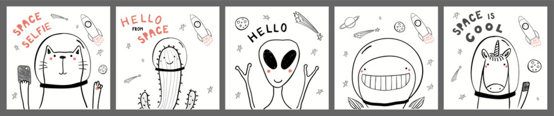 Collection of cards, posters with cute funny alien, animals, cactus astronauts, rocket, planets, space quotes. Hand drawn childish vector illustration. Line drawing. Design concept for children print.