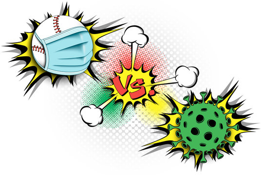 Banner baseball vs covid-19. Baseball ball with a protection mask against coronavirus sign. Cancellation of sports tournaments. The worldwide fight against the pandemic. Vector illustration