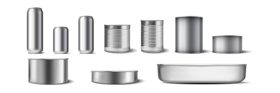 Realistic aluminium cans set. Illustration of realism style drawn metal containers mockups for drinks or beverages. Collection of different shape and size steel tins on white background.