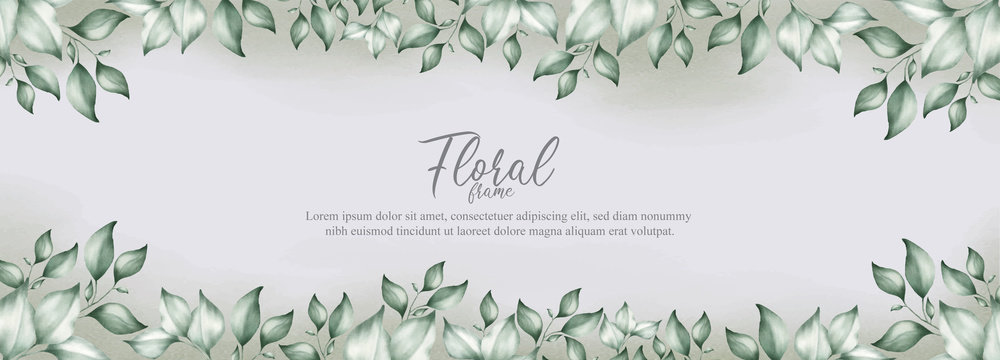 Watercolor Floral Frame and banner Template