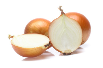 Gold onion vegetable on white background