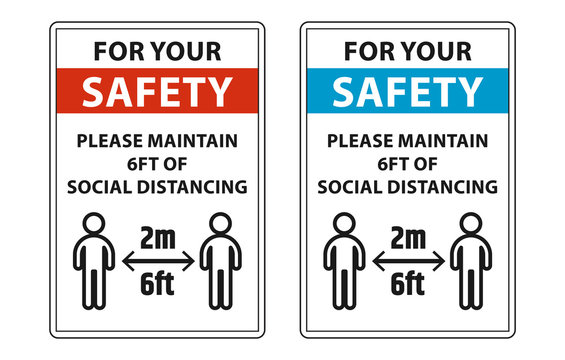 Please maintain 6ft of social distancing to help stop coronavirus (covid-19) outbreak. safety signs for social distancing labels vector