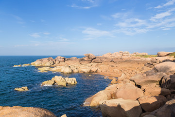 Perros-Guirec, France. Picturesque cliffs of the Pink Granite Coast