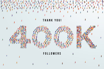 Thank you 400K or four hundred thousand followers. large group of people form to create 400K vector illustration Fototapete
