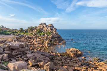Perros-Guirec, France. Pink Granite Coast: Picturesque Rocks