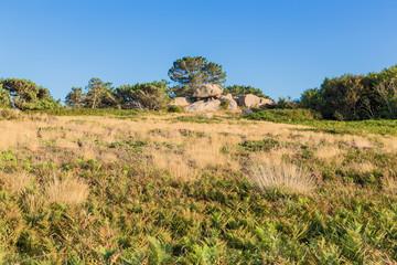 Perros-Guirec, France. Picturesque landscape under a cloudless sky