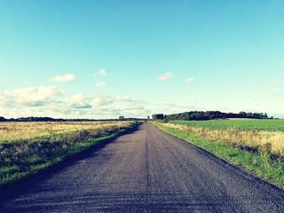 Fototapeta Dirt Road Passing Through Field obraz