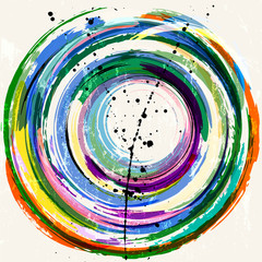 abstract geometric circle background, with strokes and splashes, grungy