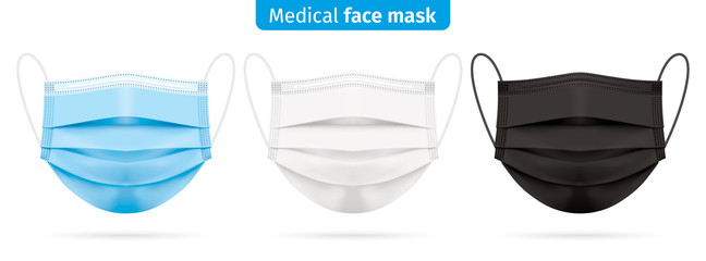Vector set of medical face masks in blue, white and black colors. Corona virus protection surgical respirator masks isolated on white. Disease and pollution protective mask for personal health safety. Wall mural