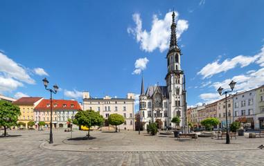 Zabkowice Slaskie, Poland. Panoramic view of Rynek square with building of historic Town Hall