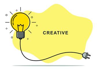 Fototapeta Badge sign template light bulb empty copy space. Concept creative idea and innovation. Vector illustration obraz