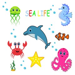 Cute colorful sea animals. Marine life. Ocean wildlife . Octopus, whale, seahorse, jellyfish,frog, turtle, crub, clown fish, sea star.