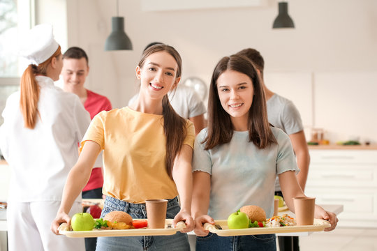Portrait of pupils in school canteen