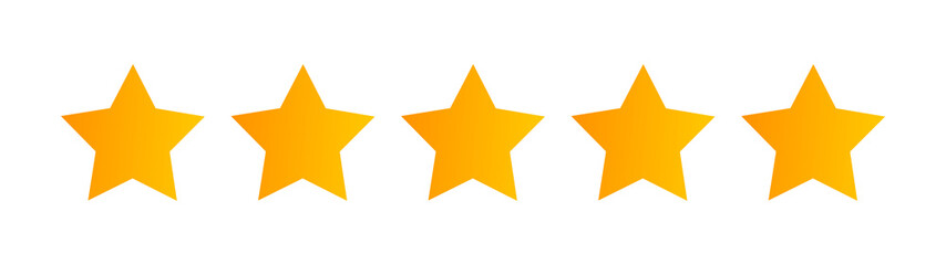 Five stars quality rating icon isolated on white.