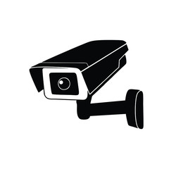 Cctv camera black isolated vector icon. Surveillance, video monitoring camera simple glyph symbol.