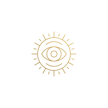 Vector emblem of sun with eye hand drawn with thin lines
