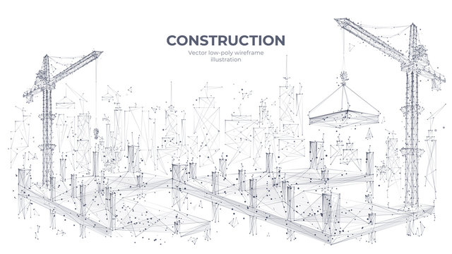 Construction site with building equipment isolated in white background. 3d working tower cranes in the city. Abstract polygonal concept of construction. Vector sketch illustration.