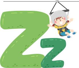Kid Girl Ziplining Sport Alphabet Illustration