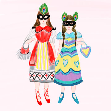 Illustration of girls