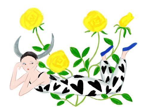 Illustration of women representing Taurus astrological sign