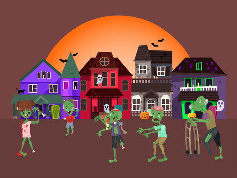 Concept zombie apocalypse house, living corpse walking urban city flat vector illustration. Halloween concept holiday, horror undead attack. Parade alive indulge, costume procession.
