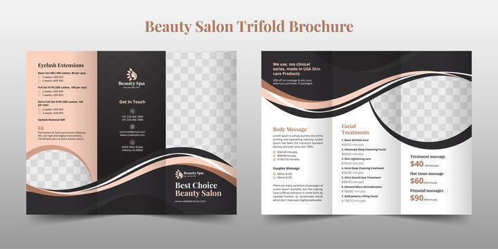 Creative Beauty Spa Women Salon Trifold Brochure Template Design