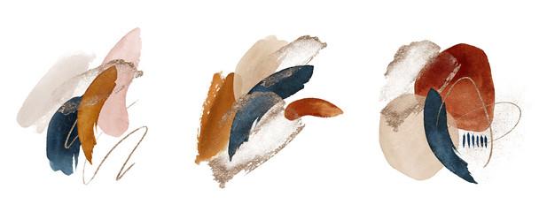 Fototapeta Arrangements. Terracotta, navy blue, orange, blush, pink, ivory, beige watercolor Illustration and gold elements, on white background. Abstract modern print set. Logo. Wall art. Poster. Business card. obraz