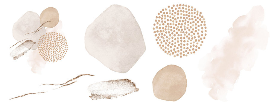 Abstract elements. Blush, pink, ivory, beige watercolor Illustration and gold elements, on white background. Abstract modern print set. Logo. Wall art. Poster. Business card.